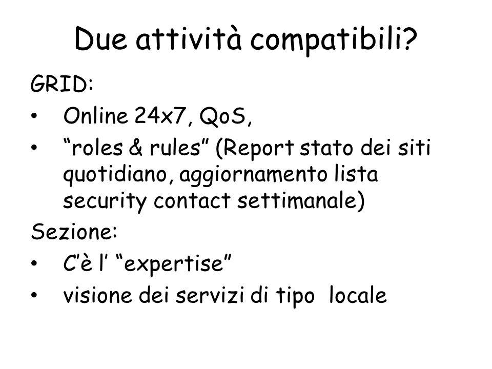 """Due attività compatibili? GRID: Online 24x7, QoS, """"roles & rules"""" (Report stato dei siti quotidiano, aggiornamento lista security contact settimanale)"""