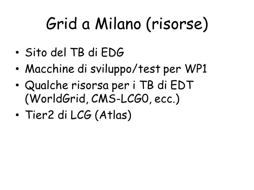 Grid a Milano (risorse) Sito del TB di EDG Macchine di sviluppo/test per WP1 Qualche risorsa per i TB di EDT (WorldGrid, CMS-LCG0, ecc.) Tier2 di LCG