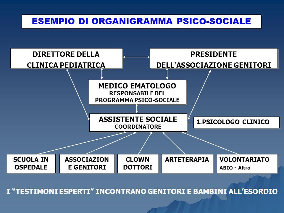 ESEMPIO DI ORGANIGRAMMA PSICO-SOCIALE DIRETTORE DELLA CLINICA PEDIATRICA DIRETTORE DELLA CLINICA PEDIATRICA PRESIDENTE DELL'ASSOCIAZIONE GENITORI MEDI