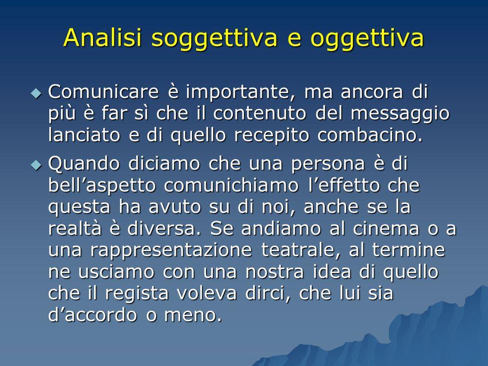 Analisi soggettiva e oggettiva  Comunicare è importante, ma ancora di più è far sì che il contenuto del messaggio lanciato e di quello recepito comba