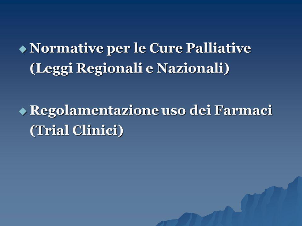  Normative per le Cure Palliative (Leggi Regionali e Nazionali)  Regolamentazione uso dei Farmaci (Trial Clinici)