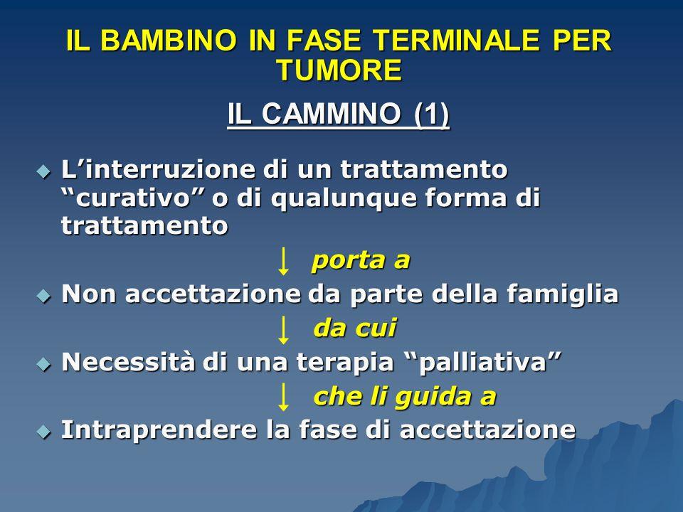 """IL BAMBINO IN FASE TERMINALE PER TUMORE IL CAMMINO (1)  L'interruzione di un trattamento """"curativo"""" o di qualunque forma di trattamento porta a porta"""