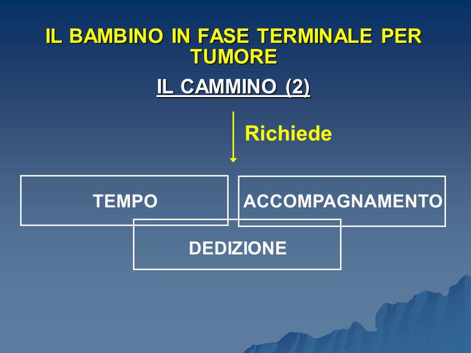 Richiede TEMPOACCOMPAGNAMENTO DEDIZIONE IL BAMBINO IN FASE TERMINALE PER TUMORE IL CAMMINO (2)
