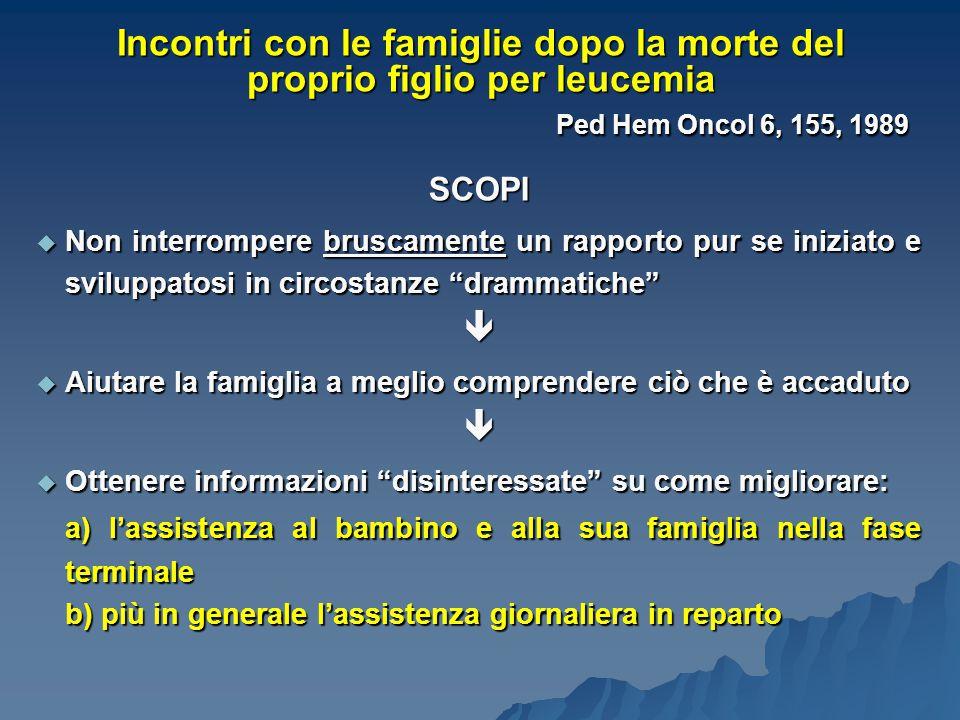 Incontri con le famiglie dopo la morte del proprio figlio per leucemia Ped Hem Oncol 6, 155, 1989 SCOPI  Non interrompere bruscamente un rapporto pur