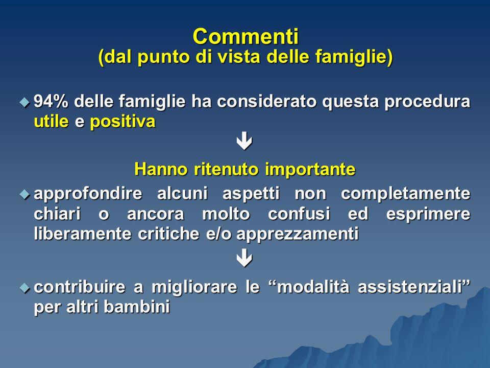 Commenti (dal punto di vista delle famiglie)  94% delle famiglie ha considerato questa procedura utile e positiva  Hanno ritenuto importante  appro