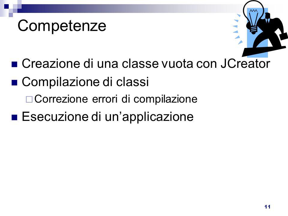 11 Competenze Creazione di una classe vuota con JCreator Compilazione di classi  Correzione errori di compilazione Esecuzione di un'applicazione