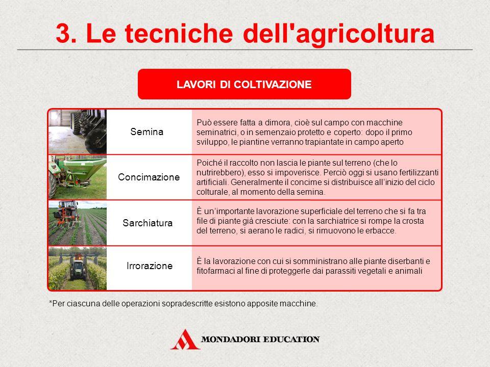 3. Le tecniche dell'agricoltura LAVORI DI PREPARAZIONE Prima della semina occorre fare numerose lavorazioni del terreno: la terra infatti deve essere