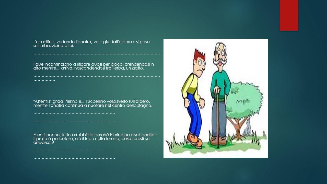 L'uccellino, vedendo l'anatra, vola giù dall'albero e si posa sull'erba, vicino a lei. ………………………………………………………………………………… … I due incominciano a litigare