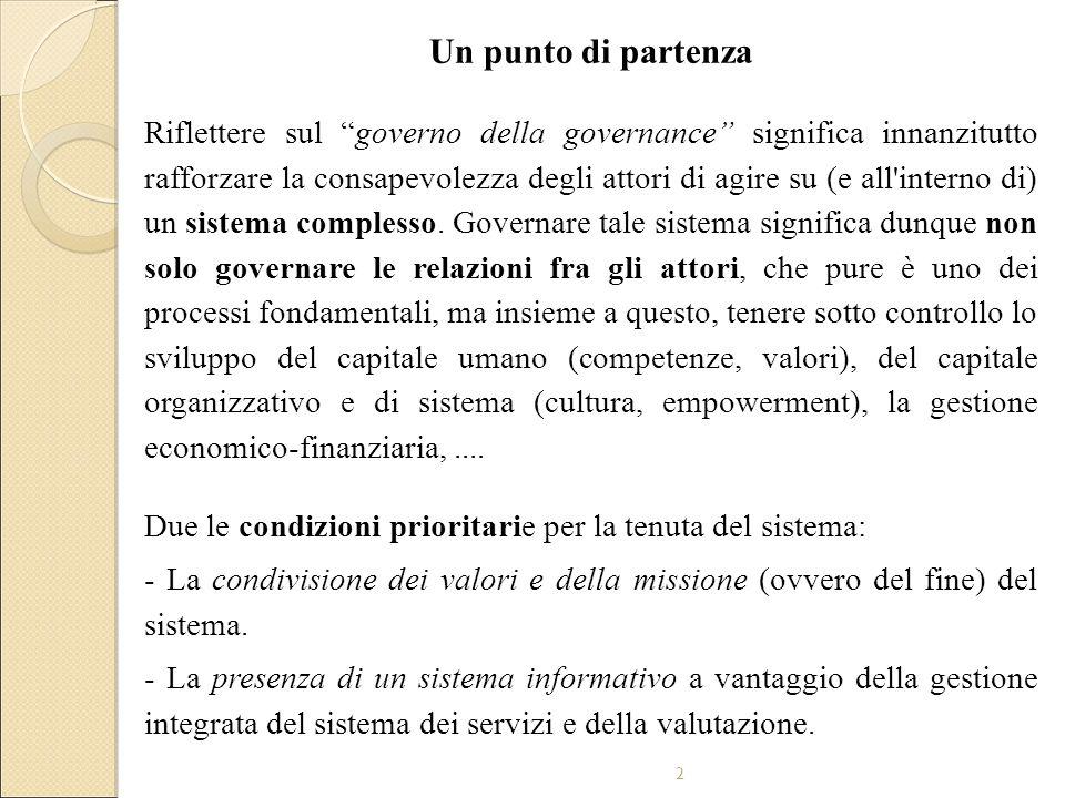 2 Un punto di partenza Riflettere sul governo della governance significa innanzitutto rafforzare la consapevolezza degli attori di agire su (e all interno di) un sistema complesso.