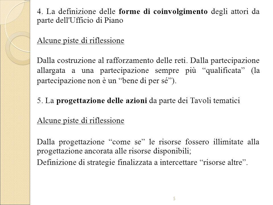 5 4. La definizione delle forme di coinvolgimento degli attori da parte dell'Ufficio di Piano Alcune piste di riflessione Dalla costruzione al rafforz