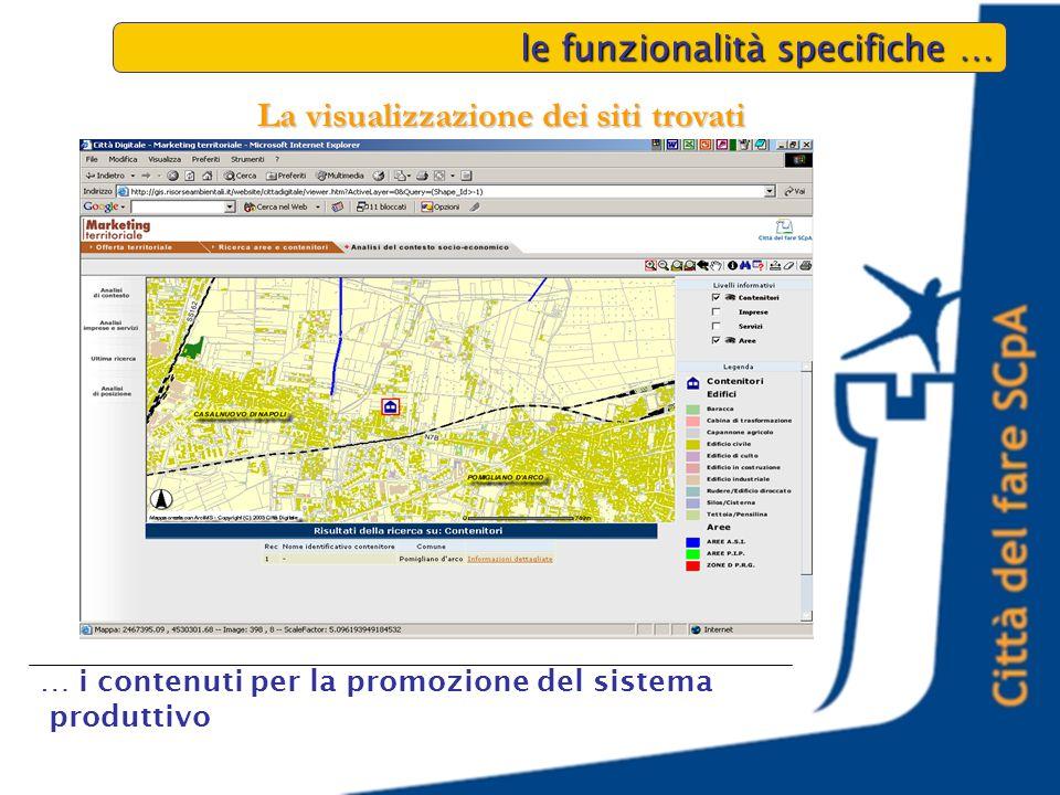 le funzionalità specifiche … … i contenuti per la promozione del sistema produttivo La visualizzazione dei siti trovati
