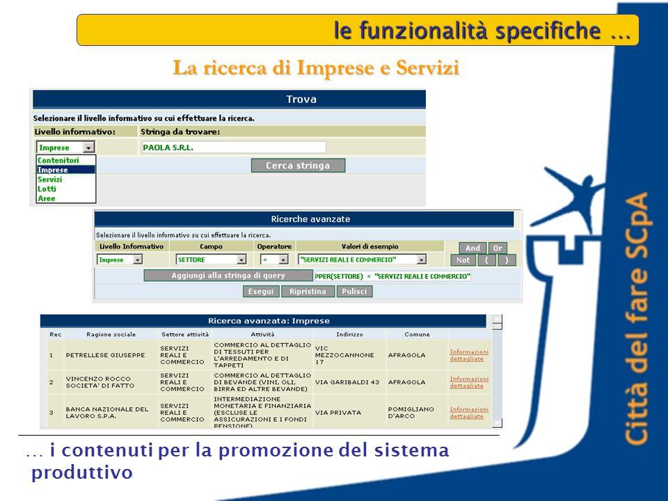 le funzionalità specifiche … … i contenuti per la promozione del sistema produttivo La ricerca di Imprese e Servizi