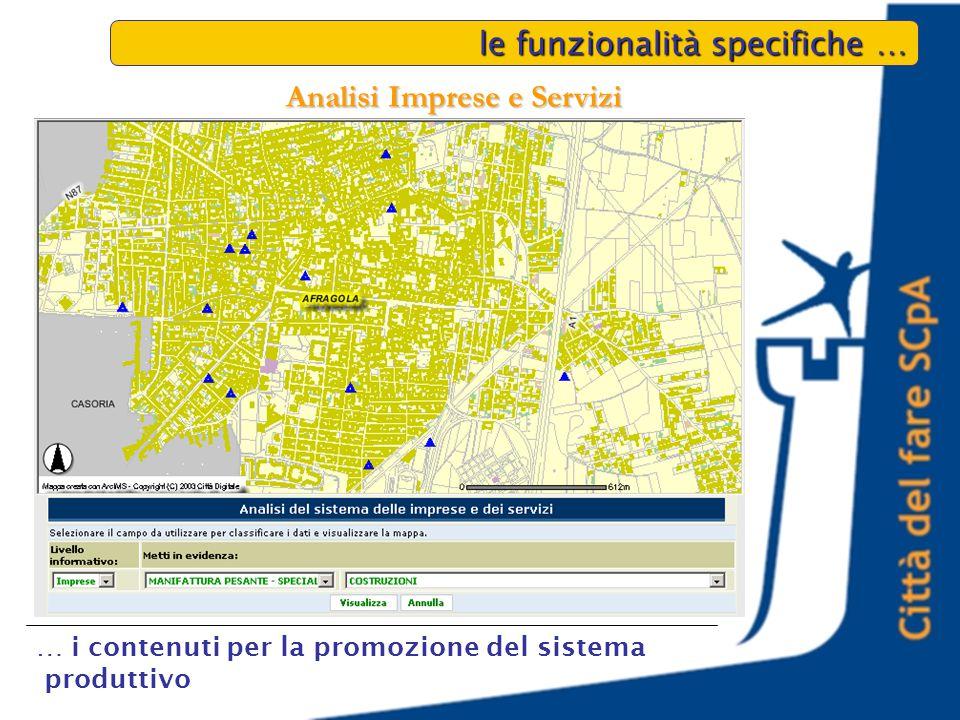 le funzionalità specifiche … … i contenuti per la promozione del sistema produttivo Analisi Imprese e Servizi