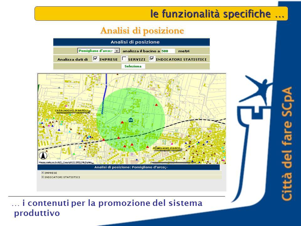 le funzionalità specifiche … … i contenuti per la promozione del sistema produttivo Analisi di posizione