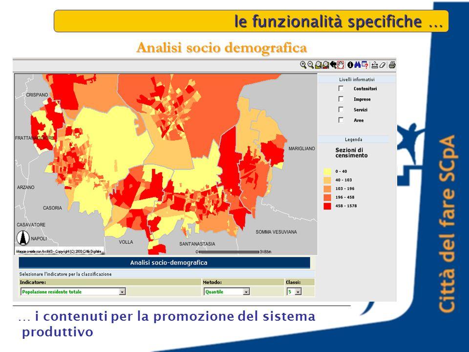 le funzionalità specifiche … … i contenuti per la promozione del sistema produttivo Analisi socio demografica