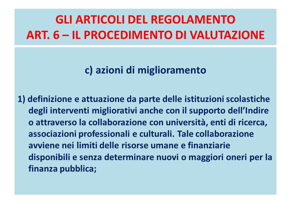 GLI ARTICOLI DEL REGOLAMENTO ART. 6 – IL PROCEDIMENTO DI VALUTAZIONE c) azioni di miglioramento 1) definizione e attuazione da parte delle istituzioni