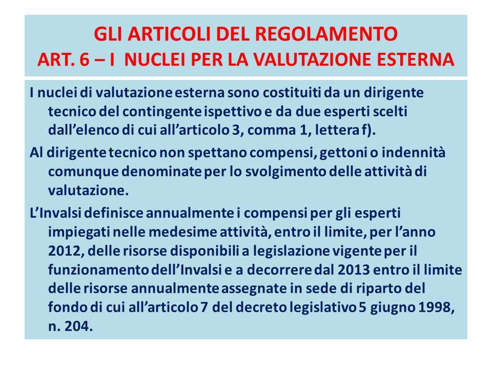 GLI ARTICOLI DEL REGOLAMENTO ART. 6 – I NUCLEI PER LA VALUTAZIONE ESTERNA I nuclei di valutazione esterna sono costituiti da un dirigente tecnico del