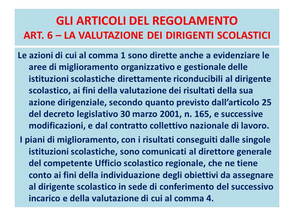 GLI ARTICOLI DEL REGOLAMENTO ART. 6 – LA VALUTAZIONE DEI DIRIGENTI SCOLASTICI Le azioni di cui al comma 1 sono dirette anche a evidenziare le aree di