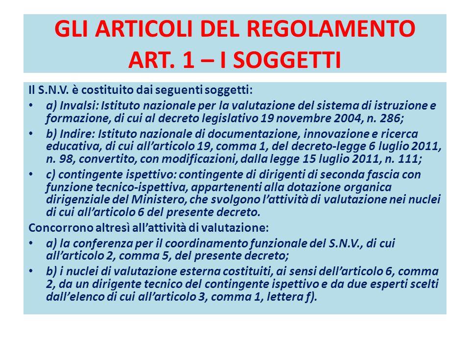 GLI ARTICOLI DEL REGOLAMENTO ART. 1 – I SOGGETTI Il S.N.V. è costituito dai seguenti soggetti: a) Invalsi: Istituto nazionale per la valutazione del s