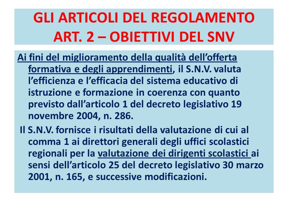 GLI ARTICOLI DEL REGOLAMENTO ART. 2 – OBIETTIVI DEL SNV Ai fini del miglioramento della qualità dell'offerta formativa e degli apprendimenti, il S.N.V
