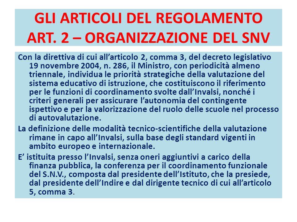 GLI ARTICOLI DEL REGOLAMENTO ART. 2 – ORGANIZZAZIONE DEL SNV Con la direttiva di cui all'articolo 2, comma 3, del decreto legislativo 19 novembre 2004