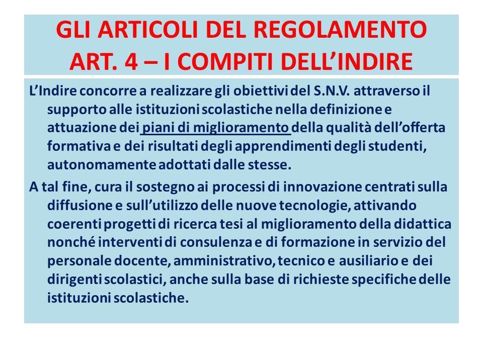 GLI ARTICOLI DEL REGOLAMENTO ART. 4 – I COMPITI DELL'INDIRE L'Indire concorre a realizzare gli obiettivi del S.N.V. attraverso il supporto alle istitu