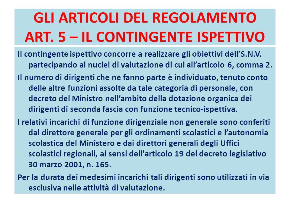 GLI ARTICOLI DEL REGOLAMENTO ART. 5 – IL CONTINGENTE ISPETTIVO Il contingente ispettivo concorre a realizzare gli obiettivi dell'S.N.V. partecipando a