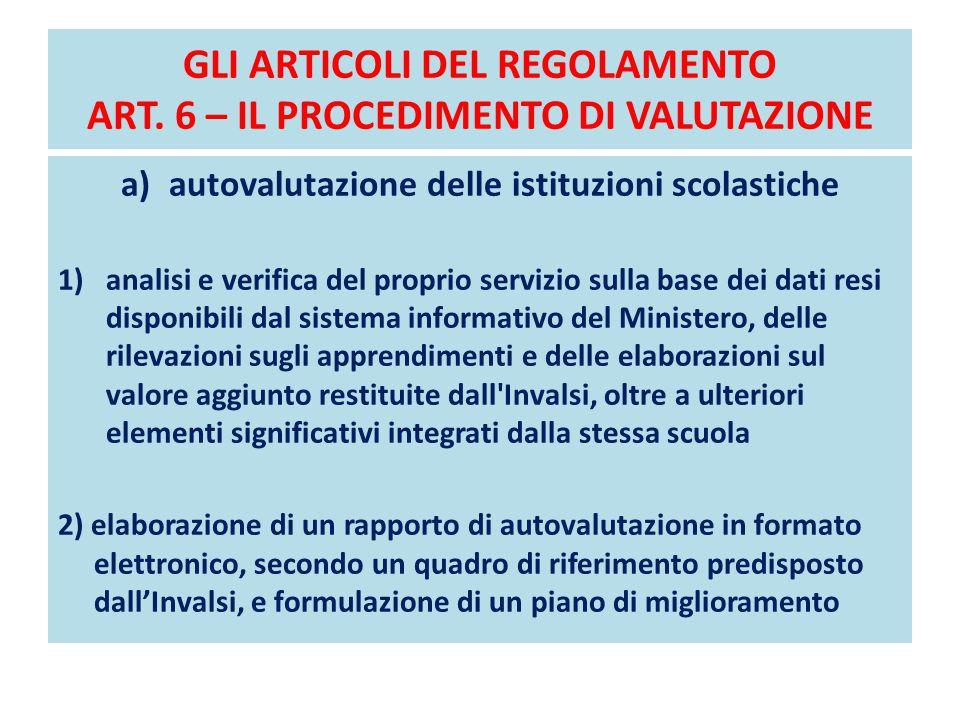 GLI ARTICOLI DEL REGOLAMENTO ART. 6 – IL PROCEDIMENTO DI VALUTAZIONE a)autovalutazione delle istituzioni scolastiche 1)analisi e verifica del proprio