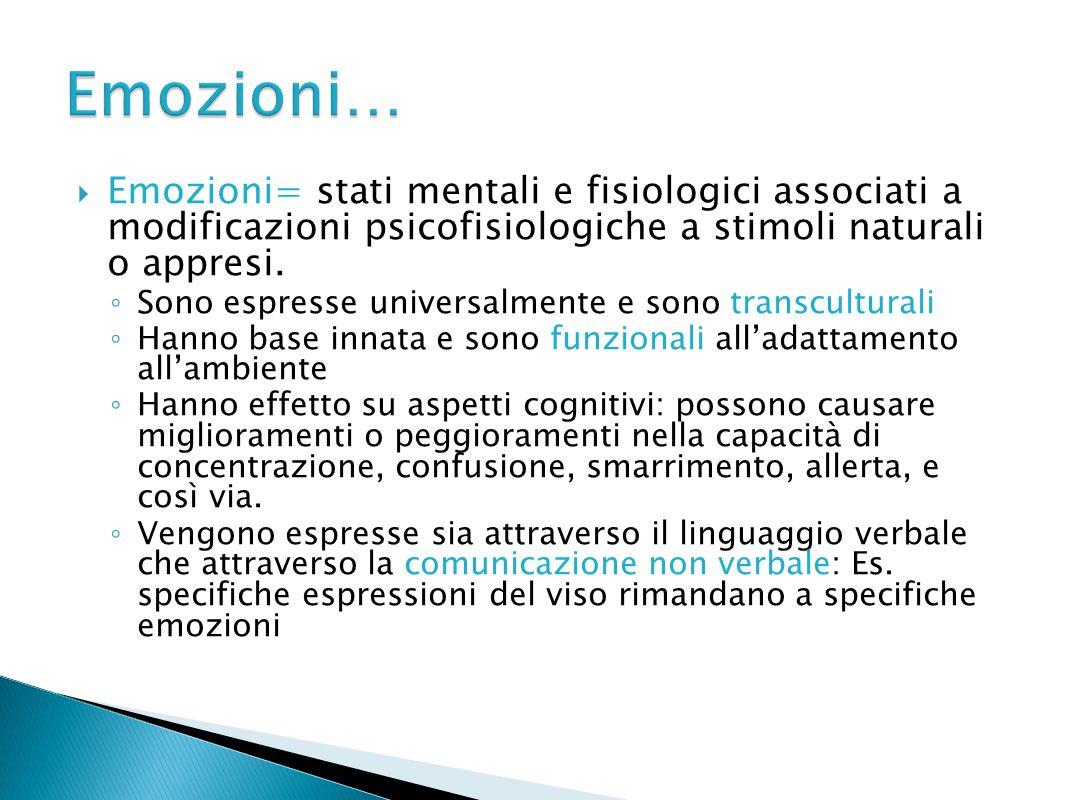  Emozioni= stati mentali e fisiologici associati a modificazioni psicofisiologiche a stimoli naturali o appresi. ◦ Sono espresse universalmente e son