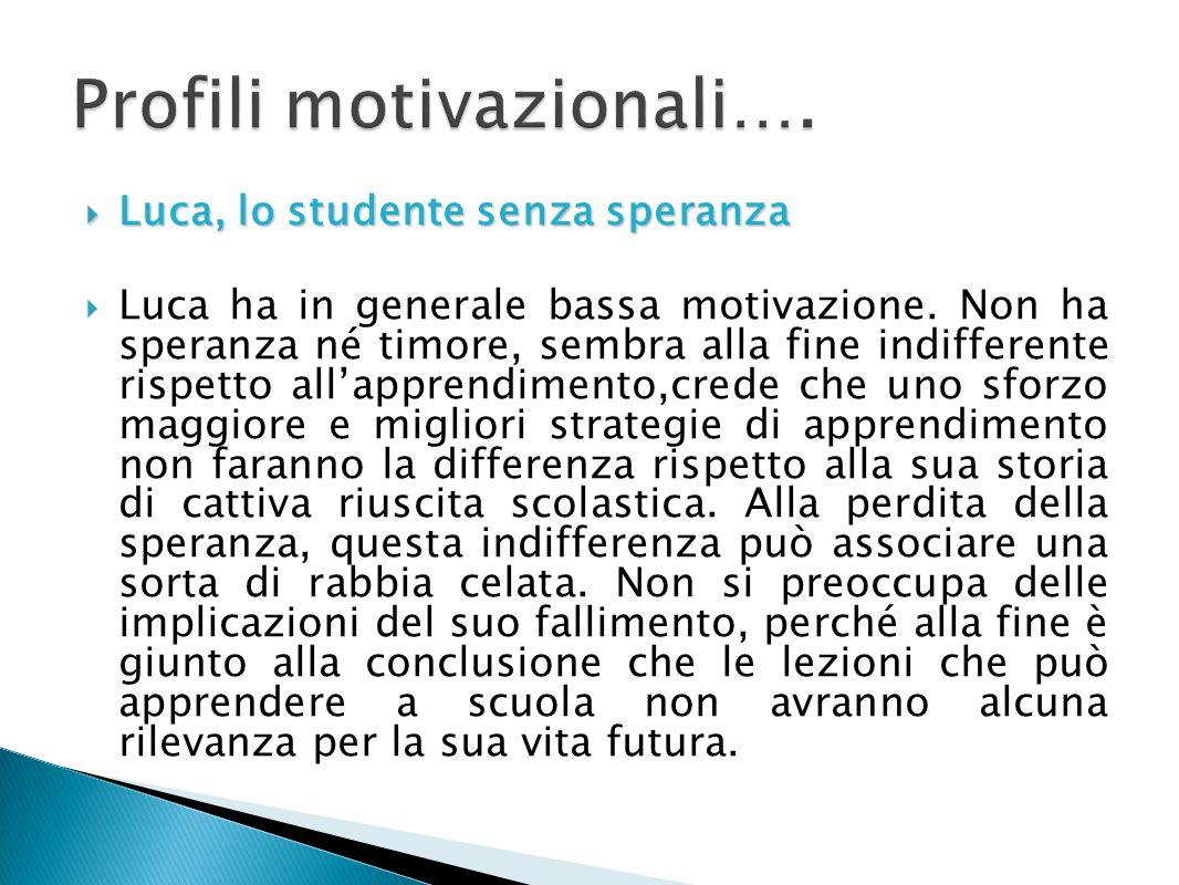  Luca, lo studente senza speranza  Luca ha in generale bassa motivazione. Non ha speranza né timore, sembra alla fine indifferente rispetto all'appr