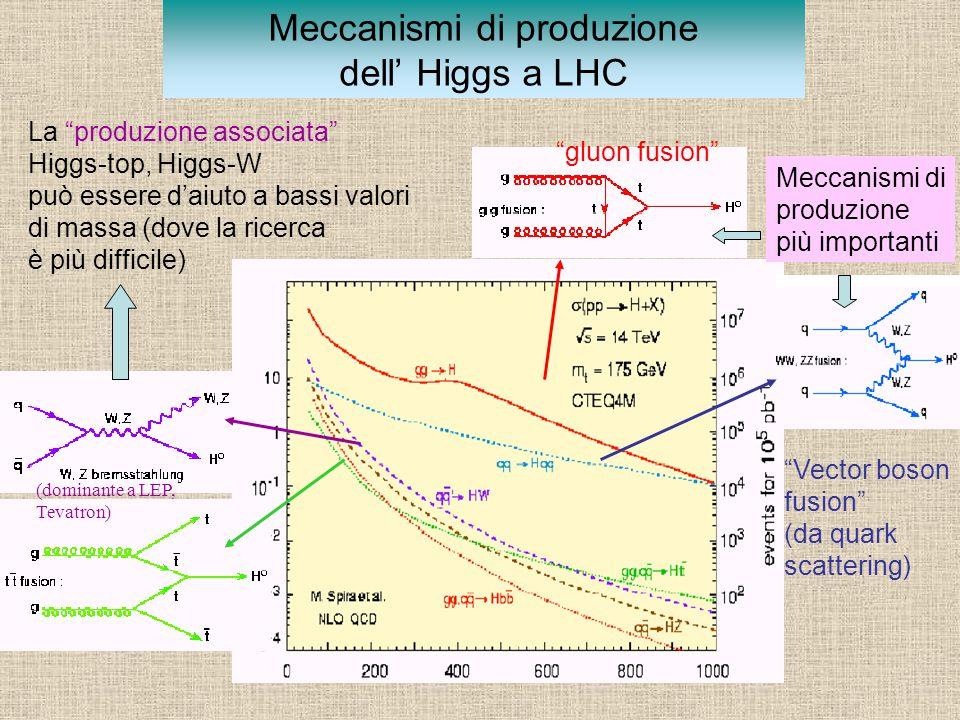 Meccanismi di produzione dell' Higgs a LHC Meccanismi di produzione più importanti La produzione associata Higgs-top, Higgs-W può essere d'aiuto a bassi valori di massa (dove la ricerca è più difficile) gluon fusion Vector boson fusion (da quark scattering) (dominante a LEP, Tevatron)