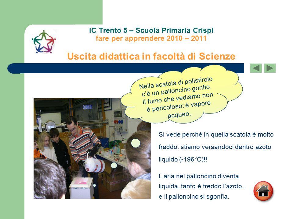 IC Trento 5 – Scuola Primaria Crispi fare per apprendere 2010 – 2011 Uscita didattica in facoltà di Scienze L'aria nel palloncino diventa liquida, tan