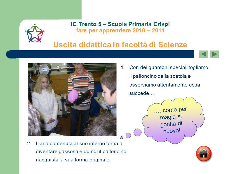 IC Trento 5 – Scuola Primaria Crispi fare per apprendere 2010 – 2011 Uscita didattica in facoltà di Scienze 2.L'aria contenuta al suo interno torna a