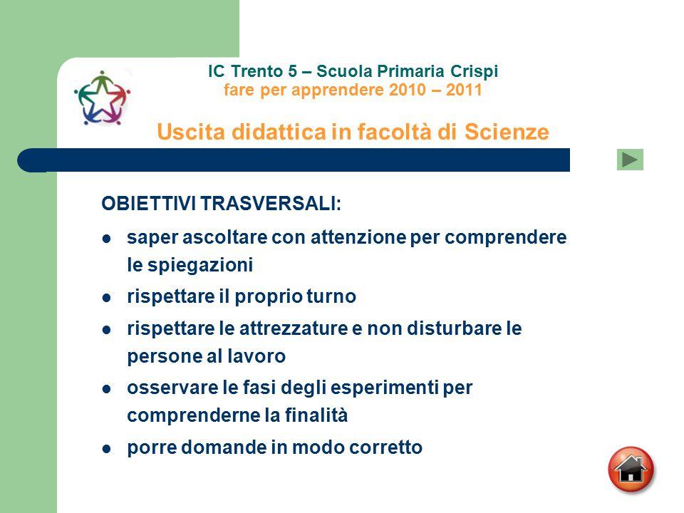 IC Trento 5 – Scuola Primaria Crispi fare per apprendere 2010 – 2011 Uscita didattica in facoltà di Scienze OBIETTIVI TRASVERSALI: saper ascoltare con