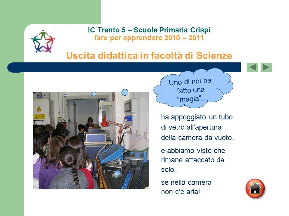 IC Trento 5 – Scuola Primaria Crispi fare per apprendere 2010 – 2011 Uscita didattica in facoltà di Scienze e abbiamo visto che rimane attaccato da so