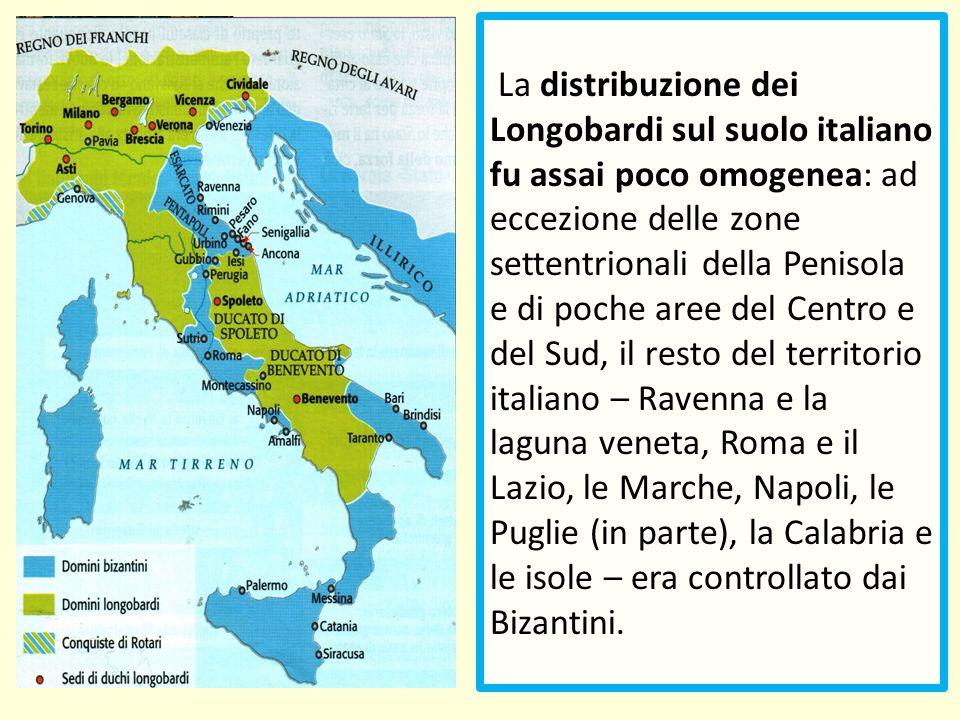 La distribuzione dei Longobardi sul suolo italiano fu assai poco omogenea: ad eccezione delle zone settentrionali della Penisola e di poche aree del C