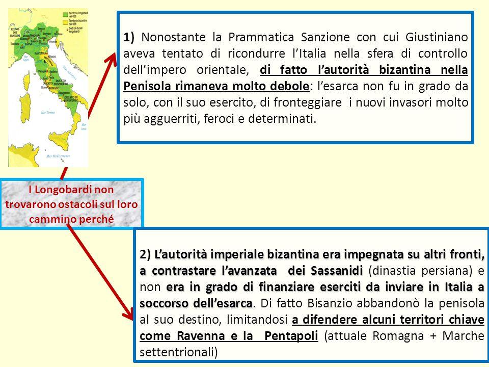 I Longobardi non trovarono ostacoli sul loro cammino perché 1) Nonostante la Prammatica Sanzione con cui Giustiniano aveva tentato di ricondurre l'Ita