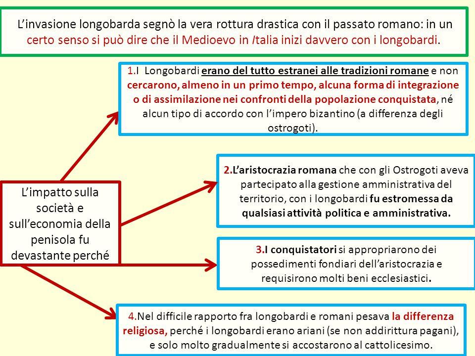 L'impatto sulla società e sull'economia della penisola fu devastante perché L'invasione longobarda segnò la vera rottura drastica con il passato roman