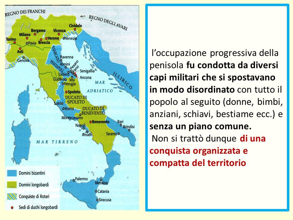 l'occupazione progressiva della penisola fu condotta da diversi capi militari che si spostavano in modo disordinato con tutto il popolo al seguito (do