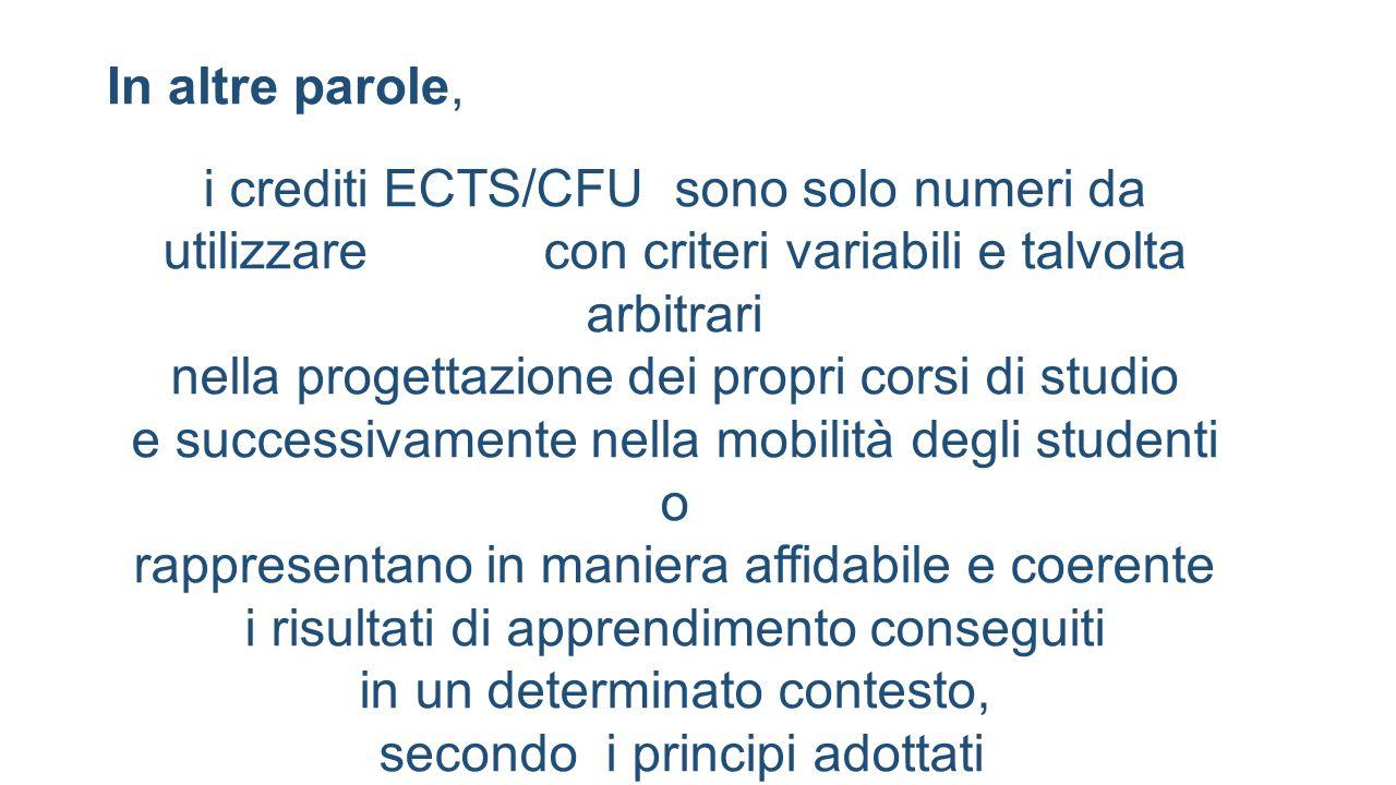 In altre parole, i crediti ECTS/CFU sono solo numeri da utilizzare con criteri variabili e talvolta arbitrari nella progettazione dei propri corsi di