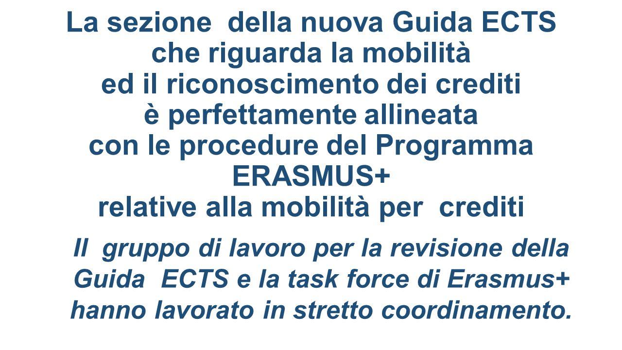 La sezione della nuova Guida ECTS che riguarda la mobilità ed il riconoscimento dei crediti è perfettamente allineata con le procedure del Programma E