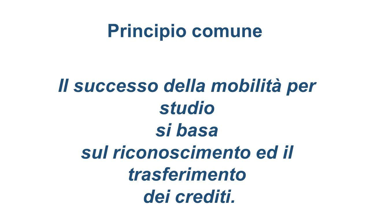 Principio comune Il successo della mobilità per studio si basa sul riconoscimento ed il trasferimento dei crediti.