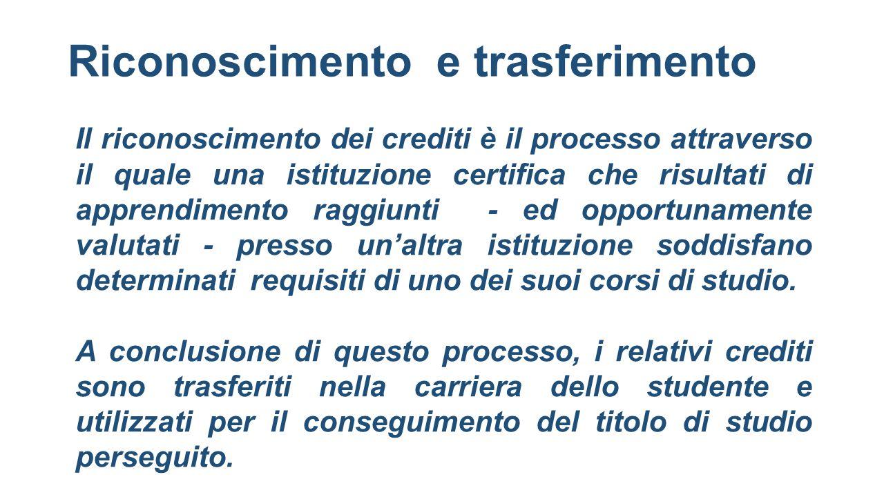 Riconoscimento e trasferimento Il riconoscimento dei crediti è il processo attraverso il quale una istituzione certifica che risultati di apprendiment