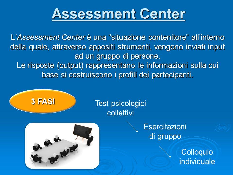 """Assessment Center L'Assessment Center è una """"situazione contenitore"""" all'interno della quale, attraverso appositi strumenti, vengono inviati input ad"""