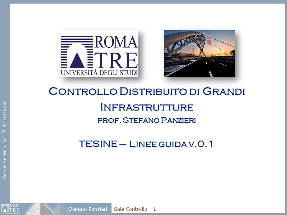 Reti e Sistemi per l'Automazione Stefano Panzieri Sale Controllo - 1 Controllo Distribuito di Grandi Infrastrutture prof. Stefano Panzieri TESINE – Li