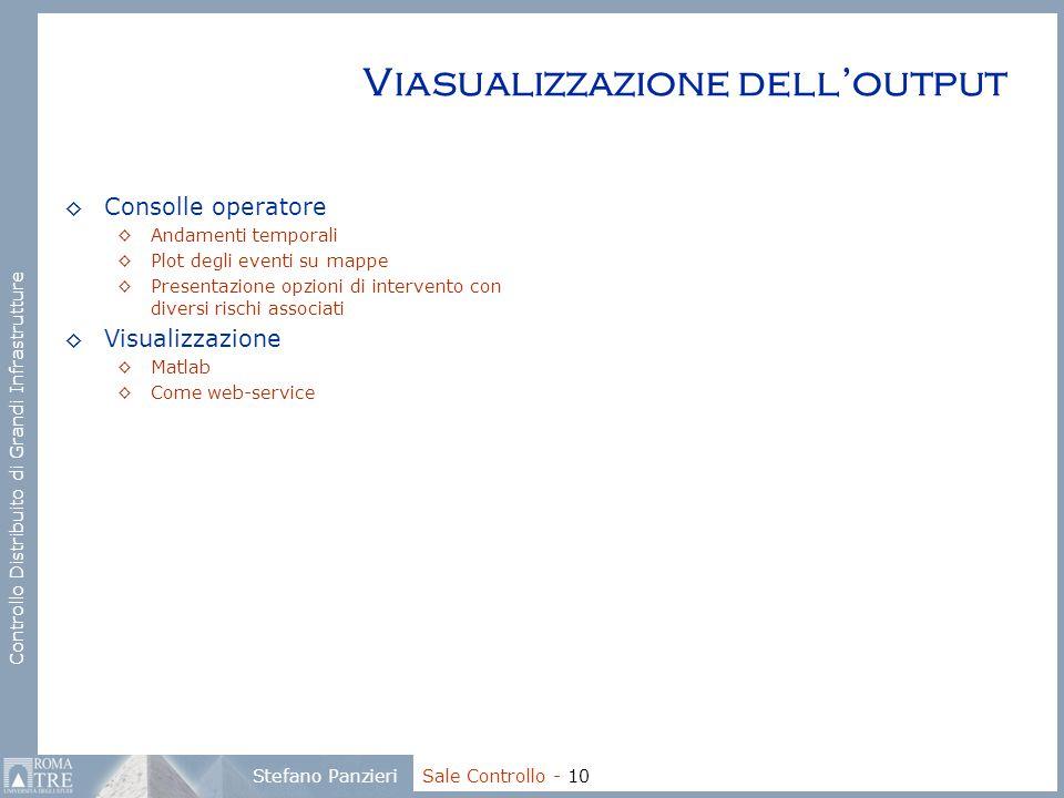Controllo Distribuito di Grandi Infrastrutture Stefano Panzieri Sale Controllo - 10 Viasualizzazione dell'output ◊Consolle operatore ◊Andamenti tempor
