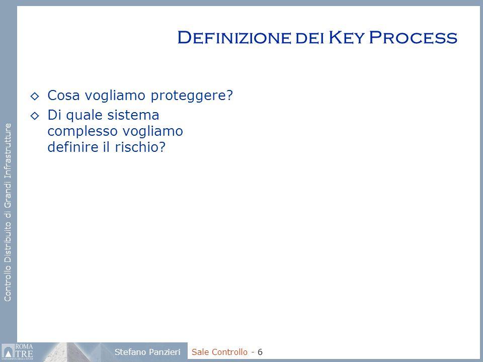 Controllo Distribuito di Grandi Infrastrutture Stefano Panzieri Sale Controllo - 6 Definizione dei Key Process ◊Cosa vogliamo proteggere? ◊Di quale si