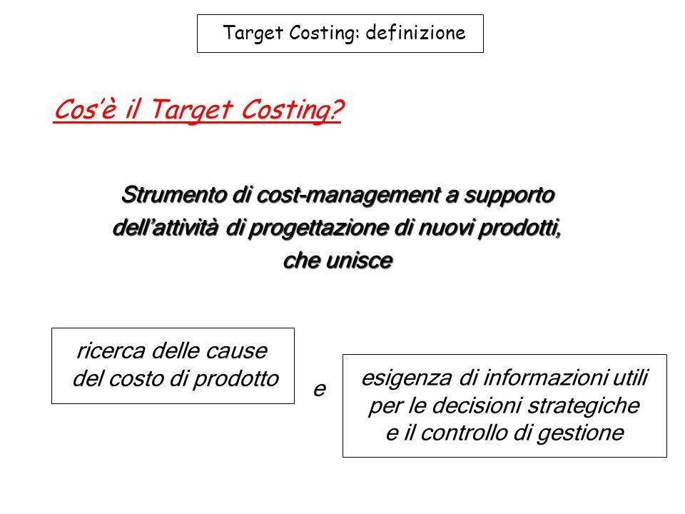 Target Costing: definizione Cos'è il Target Costing? Strumento di cost-management a supporto dell'attività di progettazione di nuovi prodotti, che uni