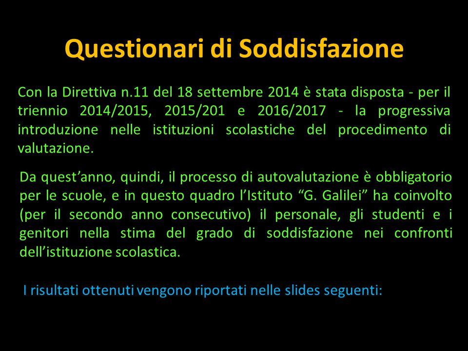 Questionari di Soddisfazione Con la Direttiva n.11 del 18 settembre 2014 è stata disposta - per il triennio 2014/2015, 2015/201 e 2016/2017 - la progressiva introduzione nelle istituzioni scolastiche del procedimento di valutazione.