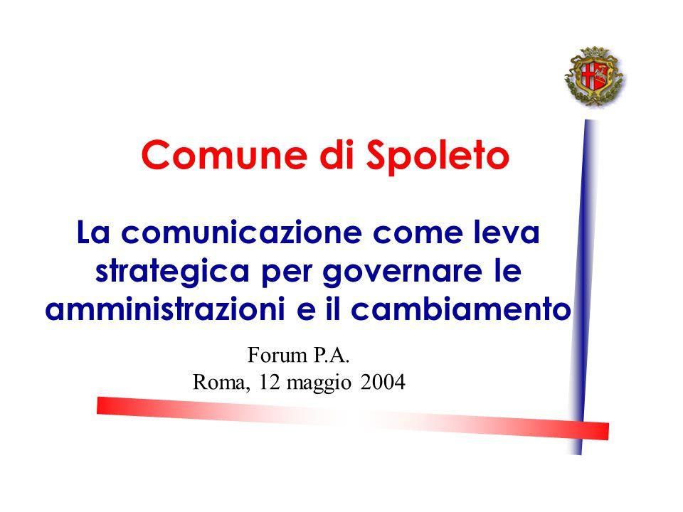 Comune di Spoleto La comunicazione come leva strategica per governare le amministrazioni e il cambiamento Forum P.A.